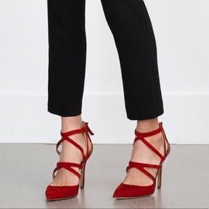 Zara   Strappy Red Pump Stiletto Heels Sz 8